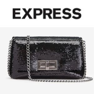 NWOT {EXPRESS} Black Sequin Turnlock Evening Bag
